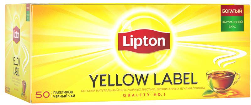 Lipton Yellow Label Черный чай Черный 50 шт lipton 0 5
