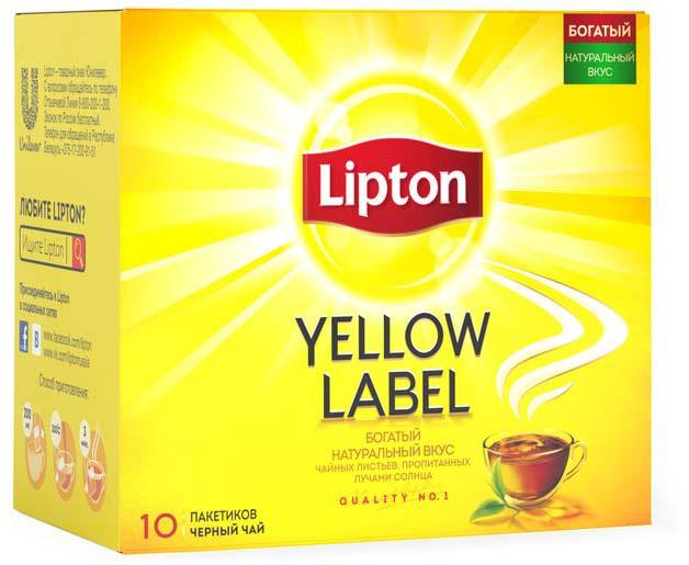 Lipton Yellow Label Черный чай Черный 10 шт