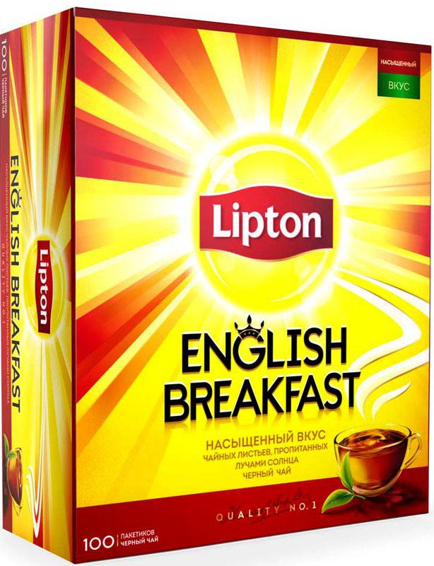 Lipton Черный чай English Breakfast 100 шт чай черный lipton blue fruit черника смородина ежевика пакетированный