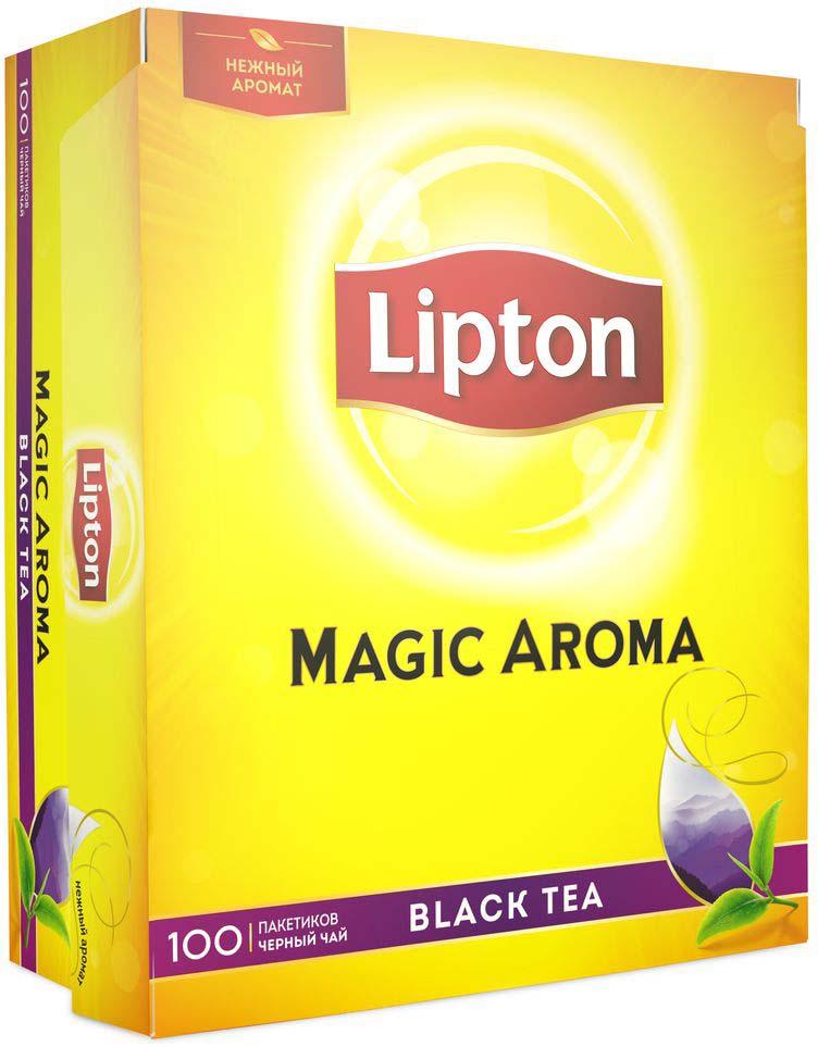 Lipton Magic Aroma черный чай в пакетиках, 100 шт lipton коллекция черного чая в пакетиках и кружка в подарок 100 шт