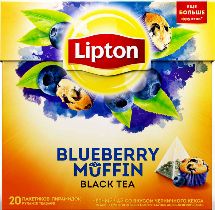 Lipton Черный чай Blueberry Muffin 20 шт чай черный lipton grape raspberry пирамидки