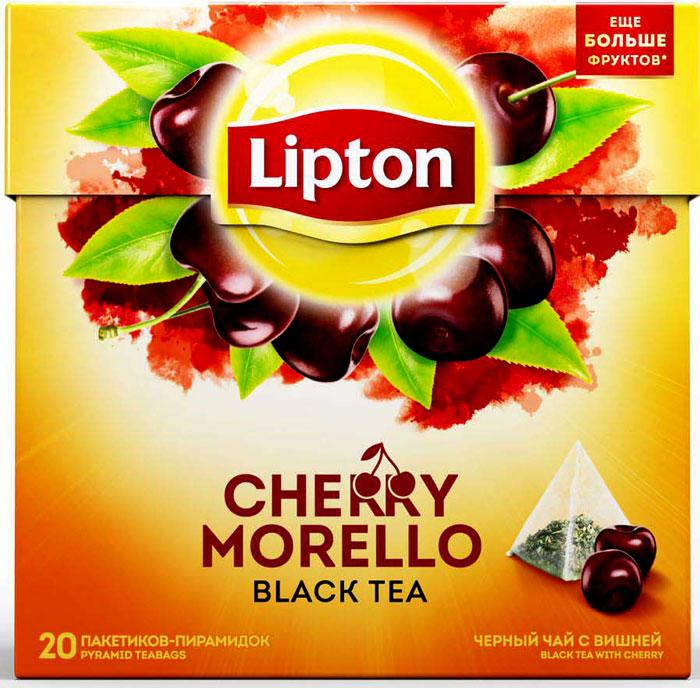 Lipton Cherry Morello черный чай в пирамидках, 20 шт lipton lemon melissa green tea зеленый чай в пирамидках с листочками лимонной мяты 20 шт
