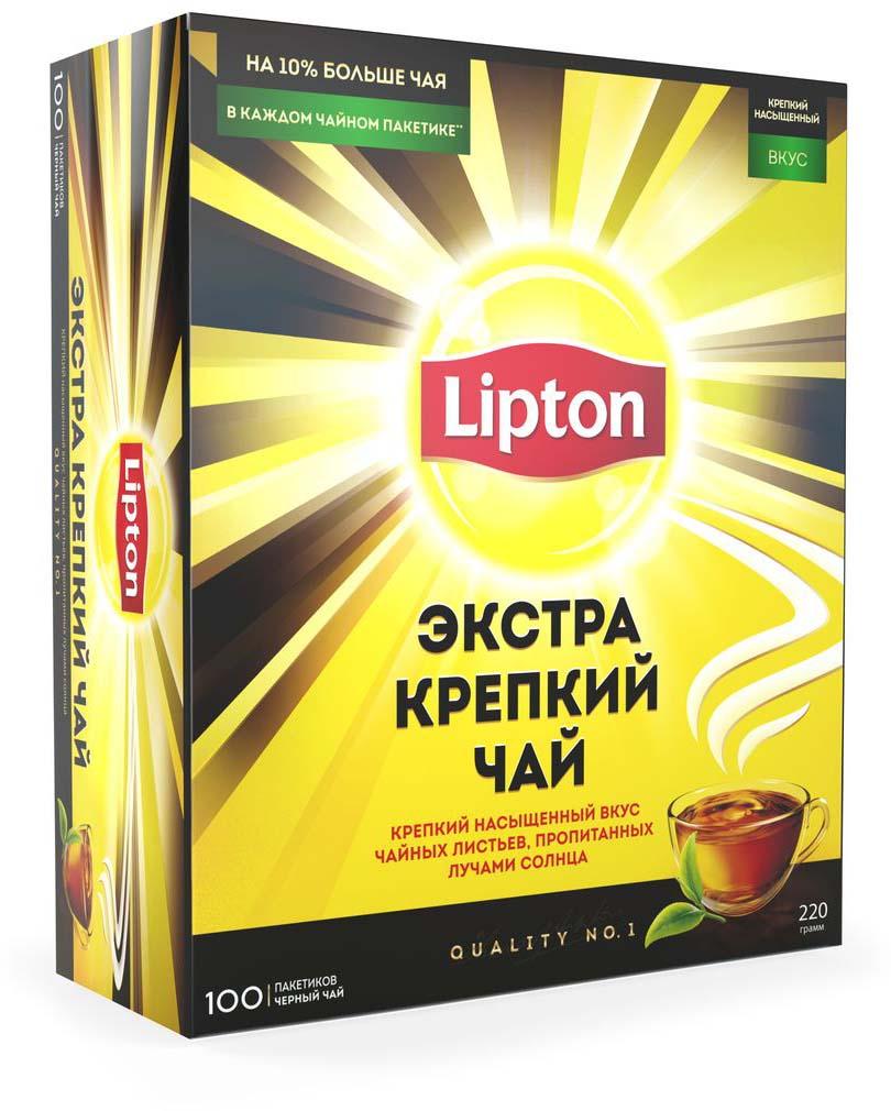 Lipton черный чай экстра крепкий в пакетиках, 100 шт lipton коллекция черного чая в пакетиках и кружка в подарок 100 шт