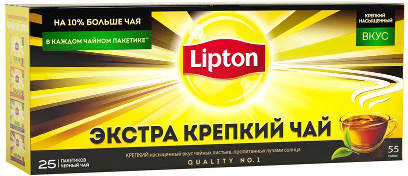 Lipton черный чай экстра крепкий в пакетиках, 25 шт lipton коллекция черного чая в пакетиках и кружка в подарок 100 шт