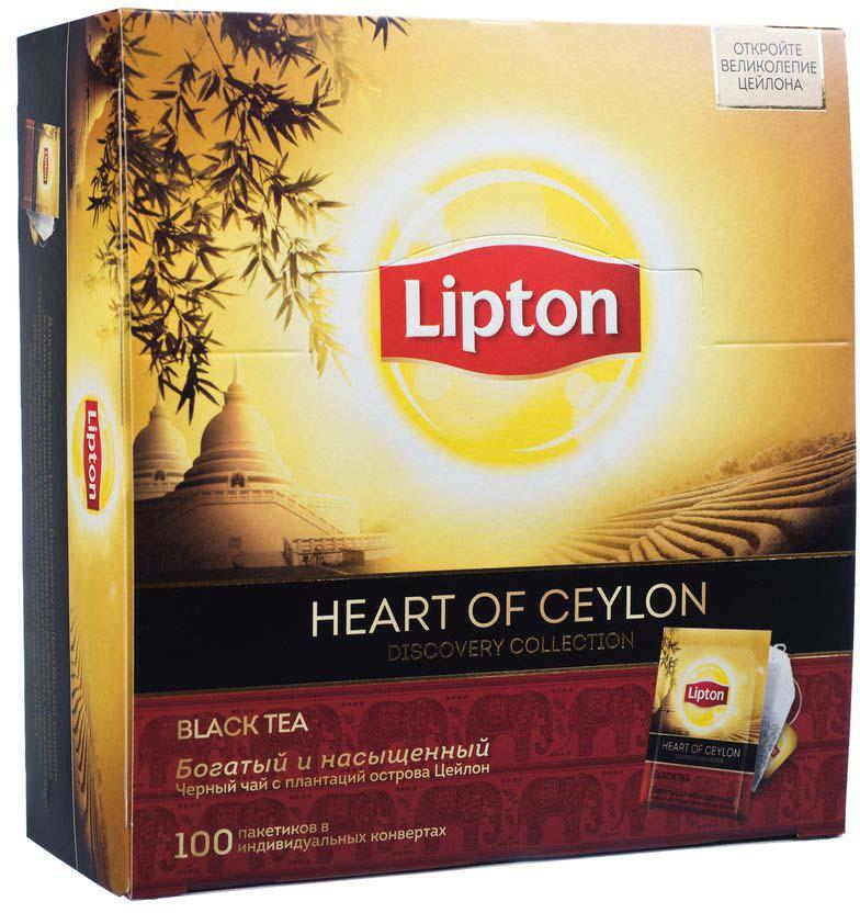 Lipton Черный чай Heart of ceylon 100 шт lipton коллекция черного чая в пакетиках и кружка в подарок 100 шт