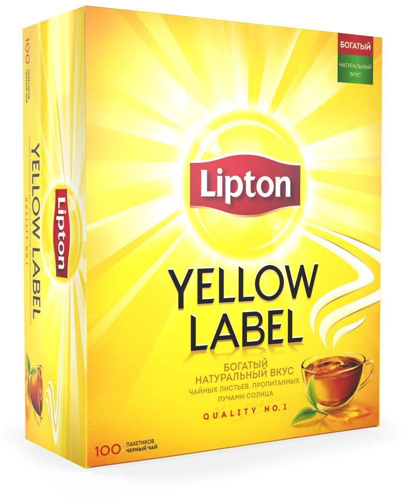 Lipton Yellow Label Черный чай в пакетиках, 100 шт lipton коллекция черного чая в пакетиках и кружка в подарок 100 шт