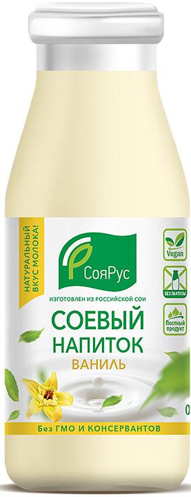 СояРус Напиток соевый с ароматом ванили 0,93%, без сахара, 0,5 л с пудовъ кисель молочный ванильный 40 г