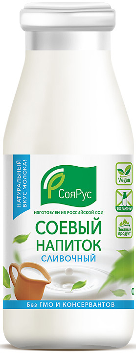 СояРус Напиток соевый сливочный 0,93%, без сахара, 1 л фрутмотив напиток тропический микс 1 5 л