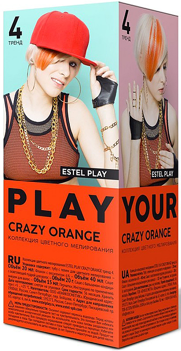 Коллекция цветного мелирования Estel Play Crazy Orange Тренд 4 EP/CO29100Специально созданный состав коллекции позволит легко и просто создать цветные акценты в домашних условяих. В набор входит туба с цветным гелем, оксигент 6%, осветляющая пудра, бальзам-кондиционер, перчатки и инструкция.