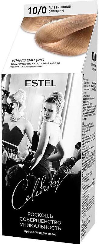 Краска-уход для волос Estel Celebrity тон платиновый блондин CL 10/0M