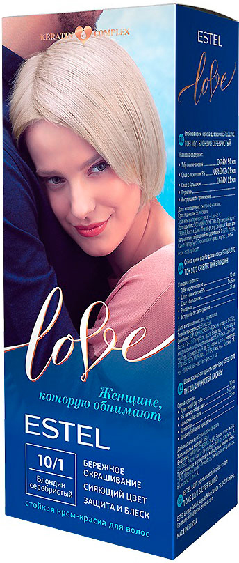 Стойкая крем-краска для волос Estel Love тон 10/1 Блондин серебристый EL10/1EL10-1Мягкое воздействие на структуру волос. Масло иланг-иланга и пчелиный воск гарантируют качественный уход, равномерное нанесение и 100% закрашивание седины. В результате волосы приобретают жизненную силу и глубокий цвет.