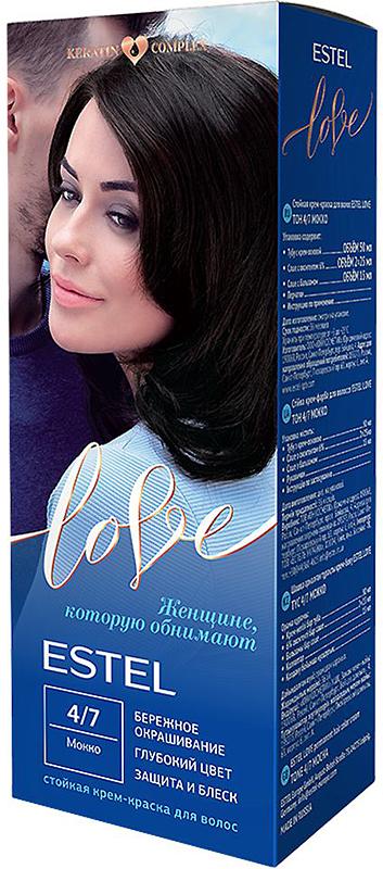 Стойкая крем-краска для волос Estel Love тон 4/7 Мокко EL4/7EL4-7Мягкое воздействие на структуру волос. Масло иланг-иланга и пчелиный воск гарантируют качественный уход, равномерное нанесение и 100% закрашивание седины. В результате волосы приобретают жизненную силу и глубокий цвет.