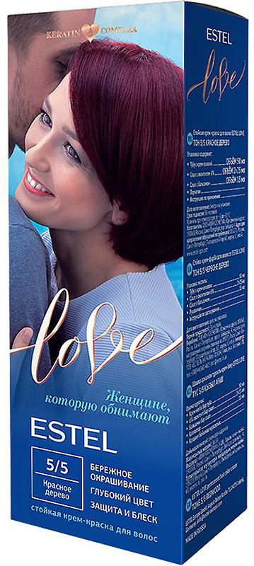 Стойкая крем-краска для волос Estel Love тон 5/5 Красное дерево EL5/5EL5-5Мягкое воздействие на структуру волос. Масло иланг-иланга и пчелиный воск гарантируют качественный уход, равномерное нанесение и 100% закрашивание седины. В результате волосы приобретают жизненную силу и глубокий цвет.