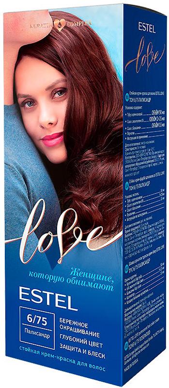 Стойкая крем-краска для волос Estel Love тон 6/75 Палисандр EL6/75EL6-75Мягкое воздействие на структуру волос. Масло иланг-иланга и пчелиный воск гарантируют качественный уход, равномерное нанесение и 100% закрашивание седины. В результате волосы приобретают жизненную силу и глубокий цвет.