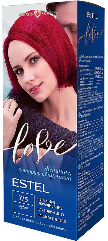 Стойкая крем-краска для волос Estel Love тон 7/5 Рубин EL7/5EL7-5Мягкое воздействие на структуру волос. Масло иланг-иланга и пчелиный воск гарантируют качественный уход, равномерное нанесение и 100% закрашивание седины. В результате волосы приобретают жизненную силу и глубокий цвет.