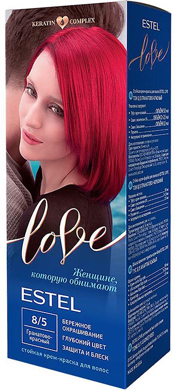 Стойкая крем-краска для волос Estel Love тон 8/5 Гранатово-красный EL8/5EL8-5Мягкое воздействие на структуру волос. Масло иланг-иланга и пчелиный воск гарантируют качественный уход, равномерное нанесение и 100% закрашивание седины. В результате волосы приобретают жизненную силу и глубокий цвет.
