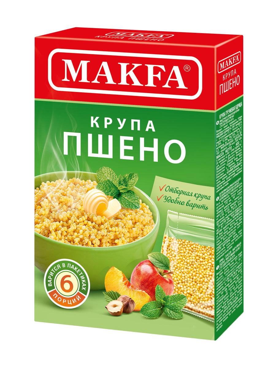 Makfa пшено шлифованное в пакетах для варки, 5 шт по 80 г крупа пшено еврозлак шлифованное 750г дой пак