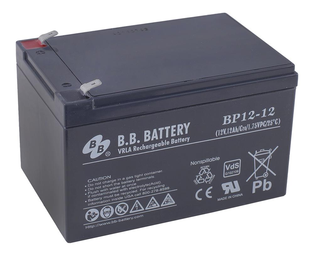 B.B.Battery BP 12-12 аккумуляторная батарея для ИБПBP 12-12Технология: AGMСрок службы: 8-12 летОсновные характеристики:-Необслуживаемые аккумуляторы технологии AGM-Герметизированные с абсорбированным электролитом-Долив воды не требуется-Низкий саморазряд, потеря емкости не более 3% в месяц-Возможен монтаж в горизонтальном и вертикальном положении (установка на крышку не допускается)