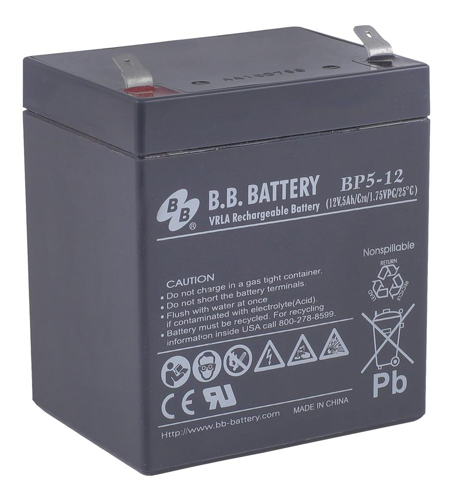 B.B.Battery BP 5-12 аккумуляторная батарея для ИБПBP 5-12Технология: AGMСрок службы: 8-12 летОсновные характеристики:-Необслуживаемые аккумуляторы технологии AGM-Герметизированные с абсорбированным электролитом-Долив воды не требуется-Низкий саморазряд, потеря емкости не более 3% в месяц-Возможен монтаж в горизонтальном и вертикальном положении (установка на крышку не допускается)