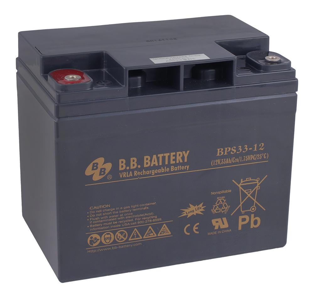 B.B.Battery BPS 33-12 аккумуляторная батарея для ИБПBPS 33-12Технология: AGMСрок службы: 8-12 летОсновные характеристики:-Необслуживаемые аккумуляторы технологии AGM-Герметизированные с абсорбированным электролитом-Долив воды не требуется-Низкий саморазряд, потеря емкости не более 3% в месяц-Возможен монтаж в горизонтальном и вертикальном положении (установка на крышку не допускается)