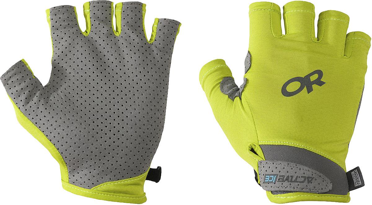 Перчатки Outdoor Research ActiveIce Chroma Sun, цвет: желтый. 2501500489. Размер L2501500489Перчатки для пеших походов и прогулок. Ладонь перчатки выполнена из перфорированного материала, который предотвращает скольжение руки на ручке треккинговой палки. Ткань изделия износоустойчивая, с защитой UPF 50+, с эффектом охлаждения. Манжета на липучке.