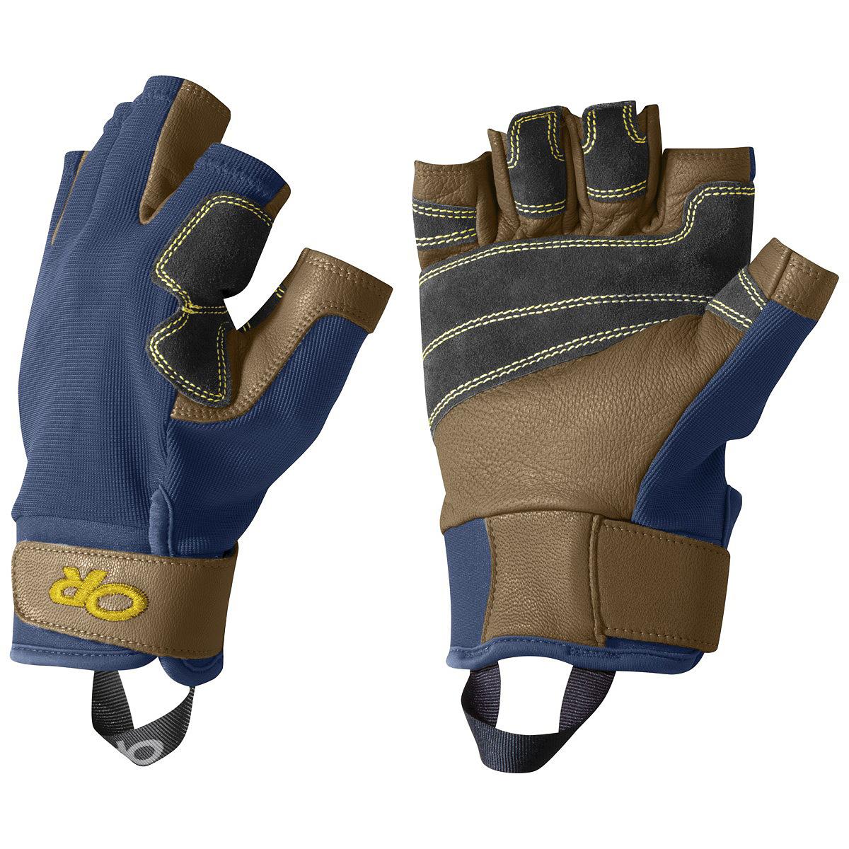 Перчатки Outdoor Research Fossil Rock, цвет: синий. 2643631201. Размер S2643631201Перчатки для скалолазания с открытыми пальцами, выполнены из прочного эластичного полиэстера с кевларовыми нитями, ладонь из кожи. На пальцах и ладони есть отверстия для лучшей вентиляции. Ткань приятная на ощупь, неопреновая манжета регулируется липучкой.