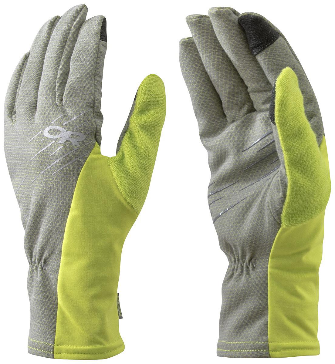 Перчатки Outdoor Research Hiftup Sensor, цвет: серый, желтый. 2540540054. Размер M2540540054Перчатки для пеших походов и прогулок предназначены для использования в теплое время года. Ткань легкая, дышащая, защищает от ветра, быстро сохнет. Большой и указательный палец Touch-screen.