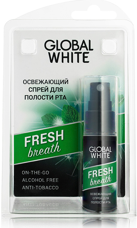Global White Освежающий спрей для полости рта, 15 мл177Спрей увлажняет слизистую оболочку полости рта и способствует устранению неприятного запаха изо рта после приема пищи, табака, алкоголя.Уважаемые клиенты! Обращаем ваше внимание на то, что упаковка может иметь несколько видов дизайна. Поставка осуществляется в зависимости от наличия на складе.