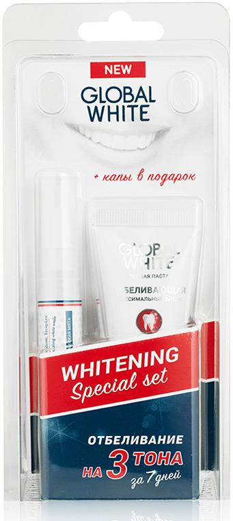 Global White Набор отбеливающий: карандаш, зубная паста + капы в Подарок гель для отбеливания зубов спб