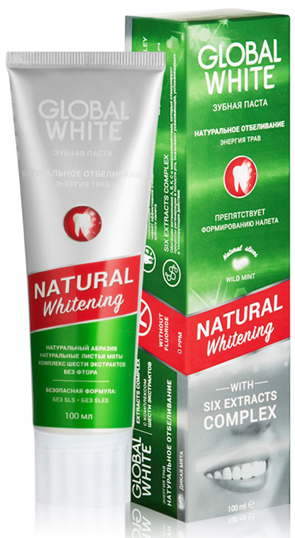 Global White Зубная паста Натуральное отбеливание Энергия трав, 100 мл тарелка семейный завтрак у пирата 22 5 19 4 2 2 см цв уп 1018899
