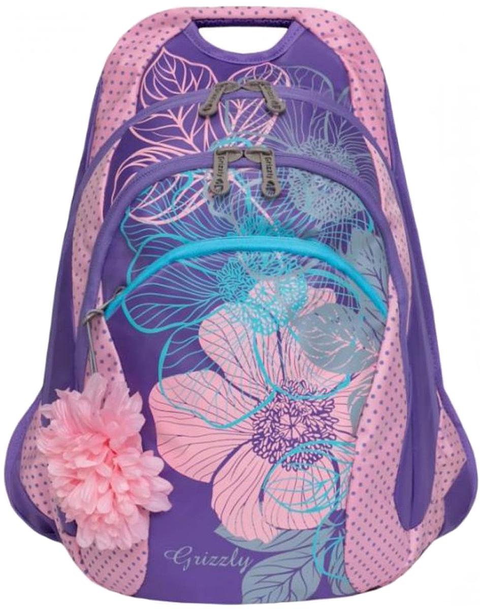 Рюкзак городской Grizzly, цвет: лиловый, розовый. RD-831-2/4RD-831-2/4Рюкзак молодежный, два отделения, карман на молнии на передней стенке, внутренний карман-пенал для карандашей, анатомическая спинка, мягкая укрепленная ручка, укрепленные лямки.