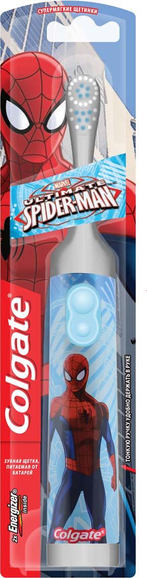 Colgate Зубная щетка Spider-Man, электрическая, с мягкой щетиной, цвет: серый, голубой зубные щетки colgate зубная щетка 360 sensitive pro relief мягкая