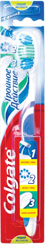 Colgate Зубная щетка Тройное действие средняя цвет синий colgate зубная щетка spiderman детская супермягкая от 2 до 5 лет цвет синий красный fcn21742