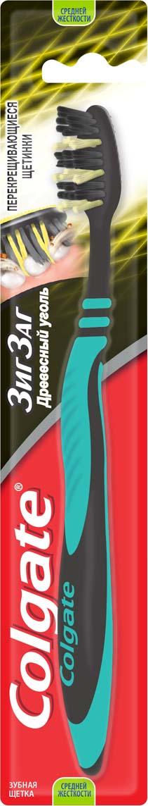Colgate Зубная щетка Зигзаг с древесным углем, средней жесткости, цвет: черный, зеленый гигиена полости рта colgate зубная щетка зиг заг 2 1 средней жесткости