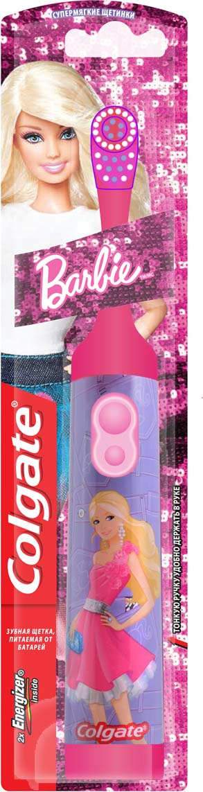 ColgateЭлектрическая зубная щетка Barbie с мягкой щетиной цвет розовый Colgate