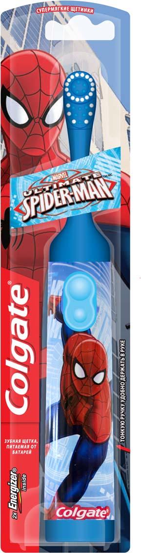 Colgate Зубная щетка Spider-Man, электрическая, с мягкой щетиной, цвет: синийFCN10038_серый, голубой;FCN10038_серый, голубойColgate Spider-Man - детская электрическая зубная щетка с мягкой щетиной. Маленькая вибрирующая головка с очень мягкими щетинками очищает детские зубы и бережно удаляет налет. Она идеально подходит для развития навыков гигиены полости рта, а благодаря яркому, привлекательному дизайну ежедневная чистка зубов станет удовольствием для вашего ребенка. Эргономичная ручка не скользит в ладони, амортизирует давление руки на нежную поверхность десен. Разноуровневые щетинки тщательно очищают как маленькие, так и большие зубы. Зубная щетка работает от двух батареек типа ААА. Батарейки в комплекте. Товар сертифицирован.Электрические зубные щетки. Статья OZON Гид