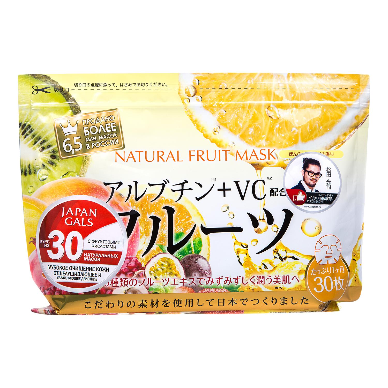 Japan Gals Курс натуральных масок для лица с фруктовыми экстрактами, 30 шт экстракт марены красильной где