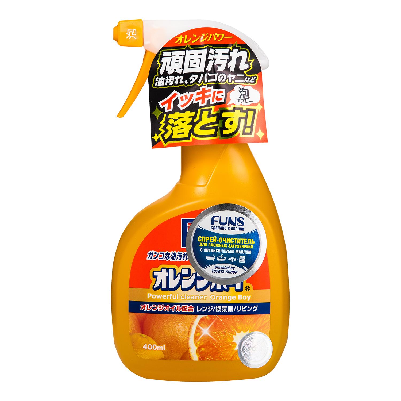 """Очиститель Funs """"Orange Boy"""" - сверхмощный очиститель, который максимально облегчает процесс уборки дома. Он подходит для применения в   гостиной комнате, на кухне и ванной. Легко справляется с чисткой плит, духовок, стен возле плит, кафеля, винилового ламината и вентиляторов.   Справляется с любыми сложным загрязнениями и масляными пятнами.   Способ применения:  Перед использованием повернуть кончик распылителя. Наносить непосредственно на место загрязнения, после   применения смыть водой или протереть место влажной тряпкой. При сильном загрязнении нанести на поверхность и оставить на 5 минут.   Распылять спрей на расстоянии 10 см. После использования средства, снова повернуть кончик распылителя. Способ хранения: хранить в   недоступном для детей месте, темном сухом месте.   Состав: вода, аминоэтанол, 3-метил-3-метоксибутанол, этиловый спирт, ПАВ (3%, алкиловый эфир полиоксиэтилен сульфата, алканоламид жирных   кислот, полиоксиэтиленалкиловый эфир, оксид алкиламина), ароматизатор, тетранатриевая соль этилендиаминтетрауксусной кислоты.      Как выбрать качественную бытовую химию, безопасную для природы и людей. Статья OZON Гид"""