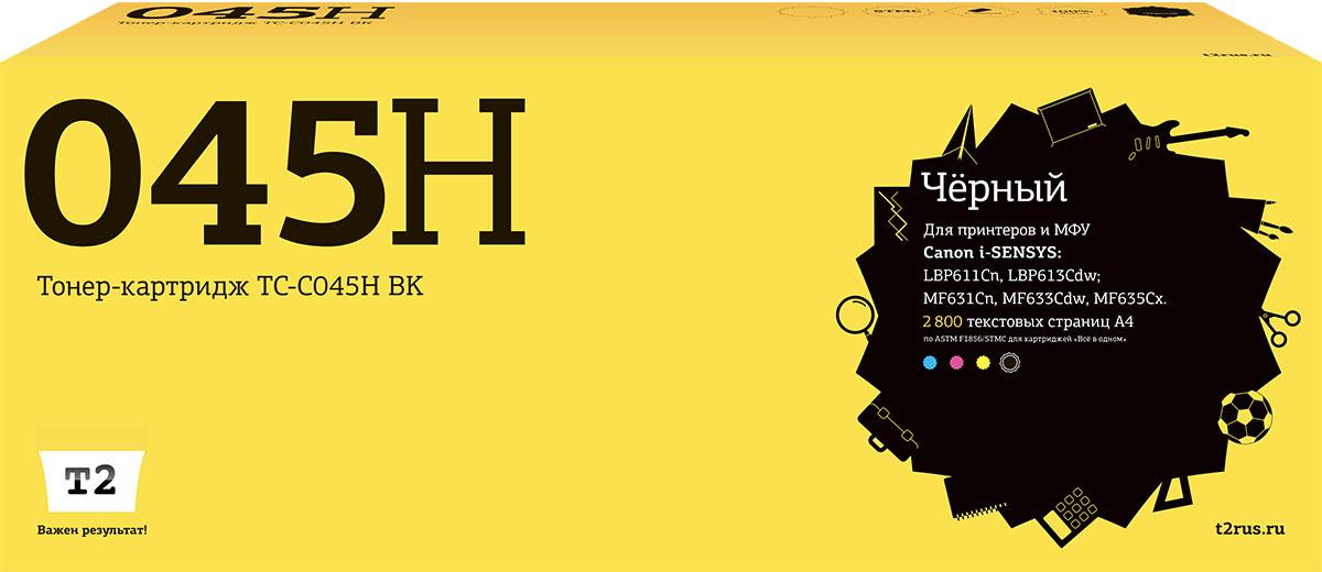 T2 TC-C045H BK, Black тонер-картридж для Canon i-SENSYS LBP611Cn/613Cdw/MF631Cn/633Cdw/635Cx, с чипом принтер canon i sensys colour lbp611cn лазерный цвет белый [1477c010]