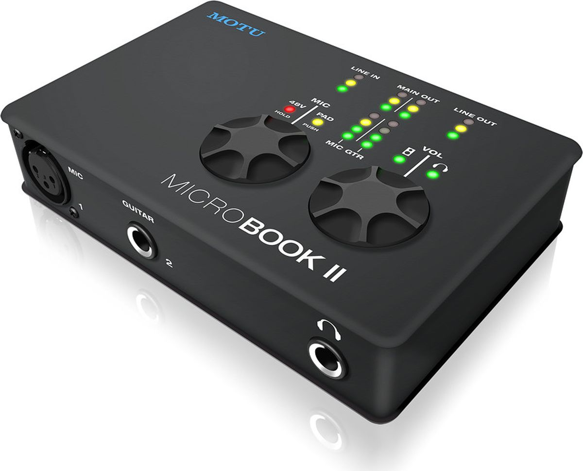 MOTU MicroBook llc аудиоинтерфейс8432Комплексное решениеВсе, что вам нужно для создания записей мирового класса.MicroBook II обеспечивает одновременное подключение микрофона, гитары и устройств с линейным сигналом. Микрофонный предусилитель обеспечивает нейтральную окраску голоса и классический звук с усилением до 20 дБ и фантомным питанием 48 В для конденсаторных микрофонов.размерВозьмите его с собой куда угодно.MicroBook II является компактным интерфейсом (5,5 на 3,6 на 1,25 дюйма). Он легко поместится в рюкзак, сумку либо в карман, не займет много места у компьютера либо ноутбука.Студийный класс звукозаписи.MicroBook II была разработана по фирменным технологиям MOTU, завоевавшим много наград. Они обеспечивают бескомпромиссное качество звука и высокую производительность. MOTU известны во всем мире. Вы всегда можете записывать и микшировать с уверенностью, даже в ситуациях, самых требовательных к качеству записи, будучи уверенными в многолетнем инженерском опыте разработчиков. Характеристики MicroBook II превосходят звуковые интерфейсы стоимостью в разы больше.Высокоскоростное подключение USB 2.0Высокая пропускная способность и низкая задержка.MicroBook II может записывать и воспроизводить все каналы одновременно. Высокоскоростное подключение USB 2.0 обеспечивает достаточную пропускную способность, даже при 96 кГц.Чувствительная регулировка громкостиЦифровые датчики управления - нажать и повернуть.Два цифровых регулятора, не только хорошо смотрятся, но и очень удобны в управлении. Нажмите на ручку регулировки громкости несколько раз для переключения между основными выходами, выходом на наушники, либо одновременным управлением ими. Для микрофонного входа можно регулировать чувствительность и управлять фантомным питанием. Управление простое и интуитивно понятное.гитарный вход.Собственное сопротивление обеспечивает полную аутентичность гитарных звуков.Без надлежащего уровня сопротивления, гитара подключенная через гитарный вход не будет звучать правильно, когда вы зап
