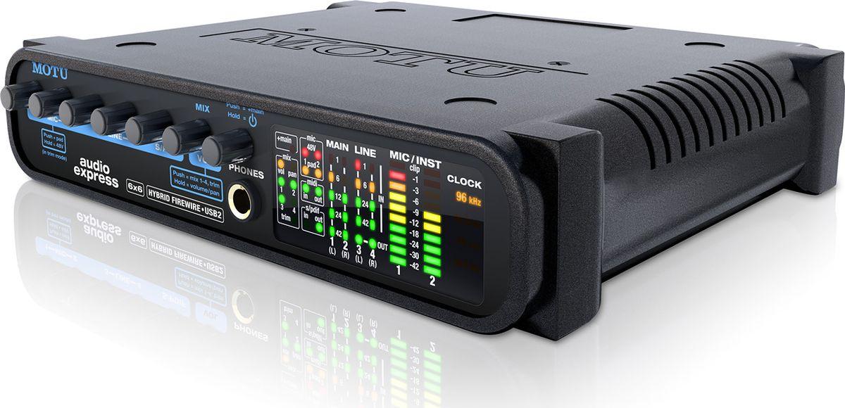 MOTU Audio Express звуковая карта8456В новой гибридной модели, получившей имя Audio Express, реализованы как FireWire, так и USB. Но этим функциональность интерфейса не ограничивается. Устройство имеет 6 аудио входов и 6 выходов.Благодаря гибридной технологии MOTU, Audio Express обладает межплатформенной совместимостью c Mac или PC через порт FireWire или высокоскоростной порт USB 2.0. Вы можете подключить микрофон, гитару, клавишные и цифровые устройства ввода, и заниматься профессиональной звукозаписью в вашей персональной студии.Передняя панель Audio Express обеспечивает простое микширование всех 6 входов. Вы можете подключить микрофон, гитару, клавишные и цифровые устройства ввода, и сразу управлять миксом на главный выход через четыре ручки на передней панели, помеченные MIC 1, MIC 2, LINE 3-4 и S / PDIF. Кроме того, вы можете отрегулировать входные уровни непосредственно с передней панели.На задней панели имеются входы/выходы S/PDIF, MIDI и вход для подключения ножного контроллера (или другие функциональные компьютерные клавиатуры, программируемые с включенного программного обеспечения).Audio Express подходит для работы, как в студиях, так и на сцене, на базе компьютера или без него.Практически ручное управление вашим миксомЧто же делает Audio Express уникальным? Все параметры микшера доступны для регулировки с лицевой панели, где они отражаются на жидкокристаллическом дисплее с подсветкой.Отдельный микс на пару выходовТак как интерфейс имеет четыре стерео шины, Audio Express позволяет создавать совершенно отдельный микс для каждой пары выходов (основные выходы, линейные выходы, S / PDIF выход и phone). Например, полный микс может быть направлен на PA систему, а гитарный микс может быть направлен на сценические мониторы через линейные выходы. Входные уровни направляются через 4 микс шины. Программирование для всех 4 миксов (и входного уровня) осуществляется с передней панели с помощью нажатия ручки MIX.Hybrid Firewire/USB 2.0Audio Express обеспечивает гибкость