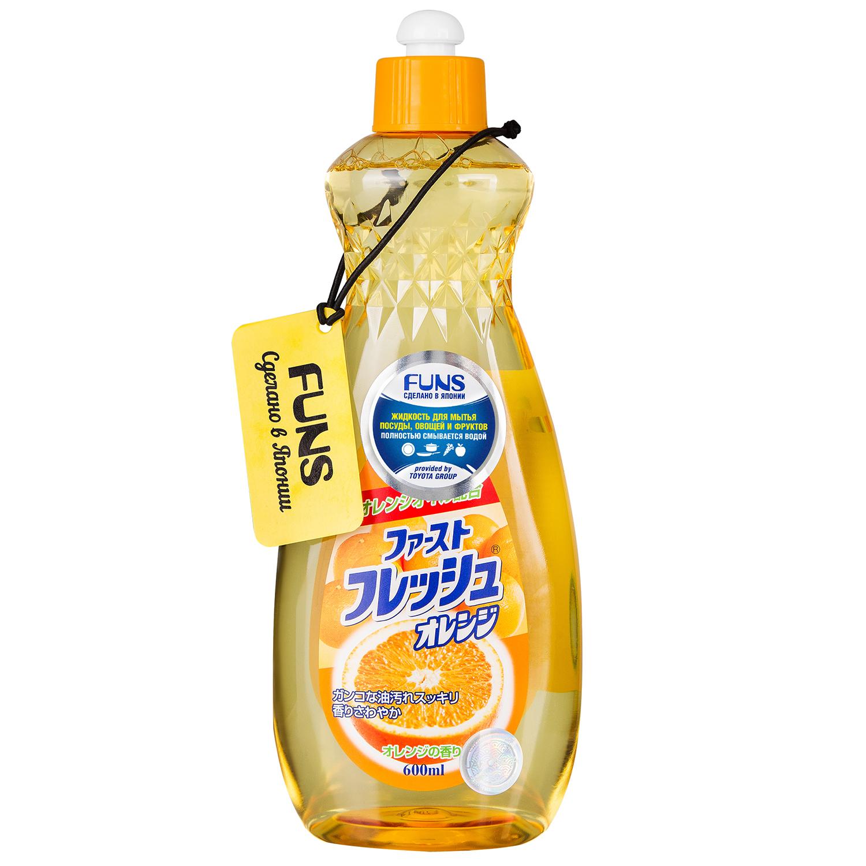 Жидкость для мытья посуды свежий Funs, апельсин, 600 мл средства для уборки funs спрей чистящий для дома на основе пищевой соды funs 400 мл