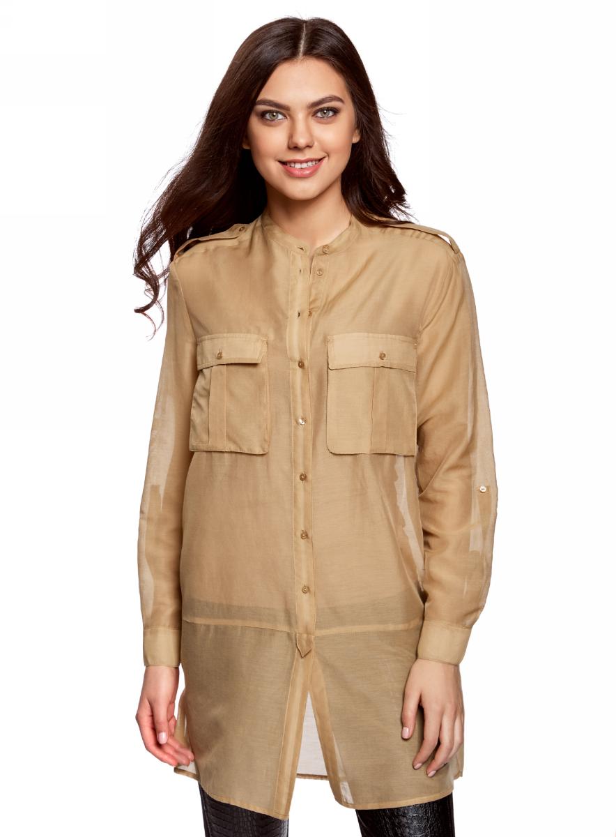 Блузка женская oodji Ultra, цвет: бежевый. 11411153/46626/3300N. Размер 34 (40-170) блузка oodji блузка