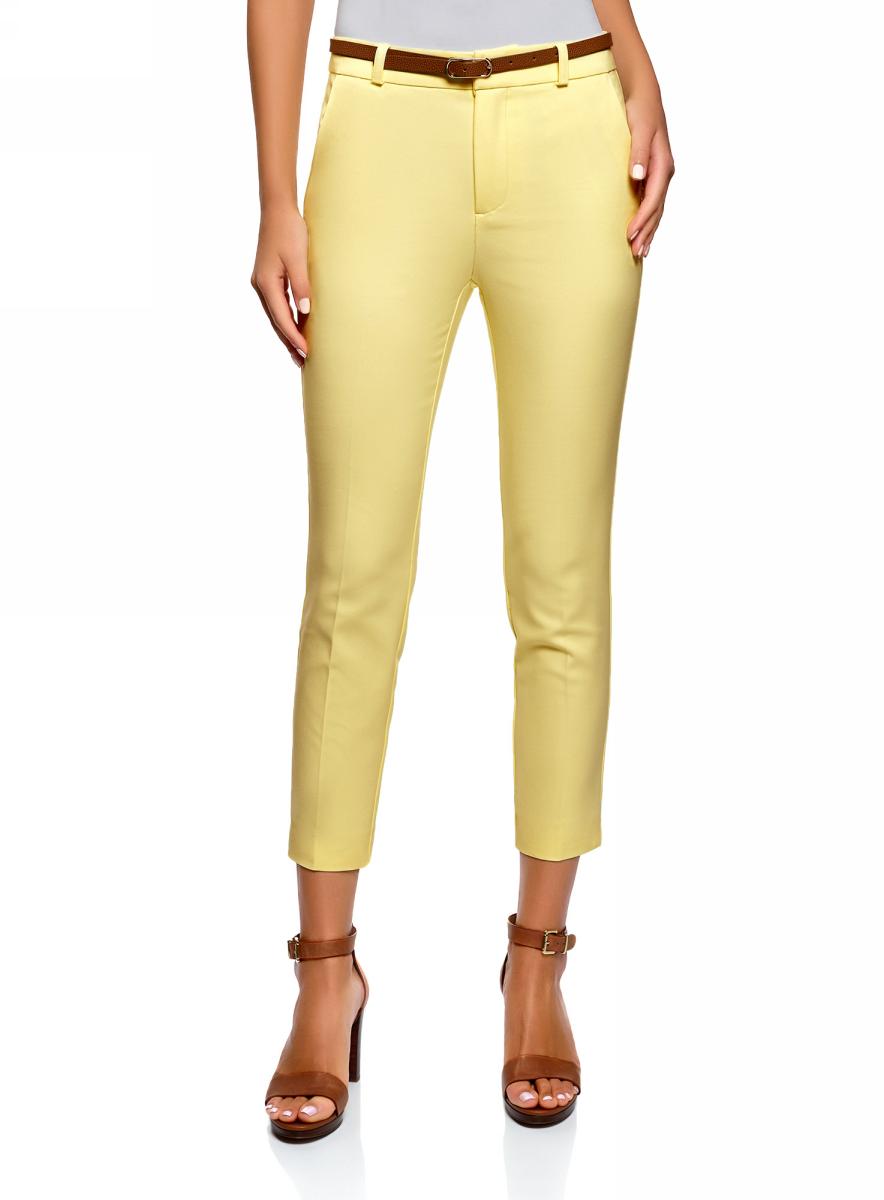Брюки женские oodji Ultra, цвет: желтый. 11702067/33574/5200N. Размер 42 (48-170)