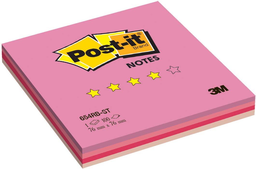 Бумага для заметок Post-it Клубная радуга, с липким слоем, 100 листов654-RB-STБумага для заметок Post-it Клубная радуга прекрасно подойдет для записи номеров телефонов, адресов, напоминания о важной встрече или внезапно пришедшей полезной мысли. Бумагу можно наклеивать на любую гладкую поверхность, без опасения оставить след от клея. Блок содержит 100 листов из бумаги ярких цветов: желтого и трех ярких оттенков розового. Характеристики:Размер листа: 7,6 см х 7,6 см. Количество: 100 листов.