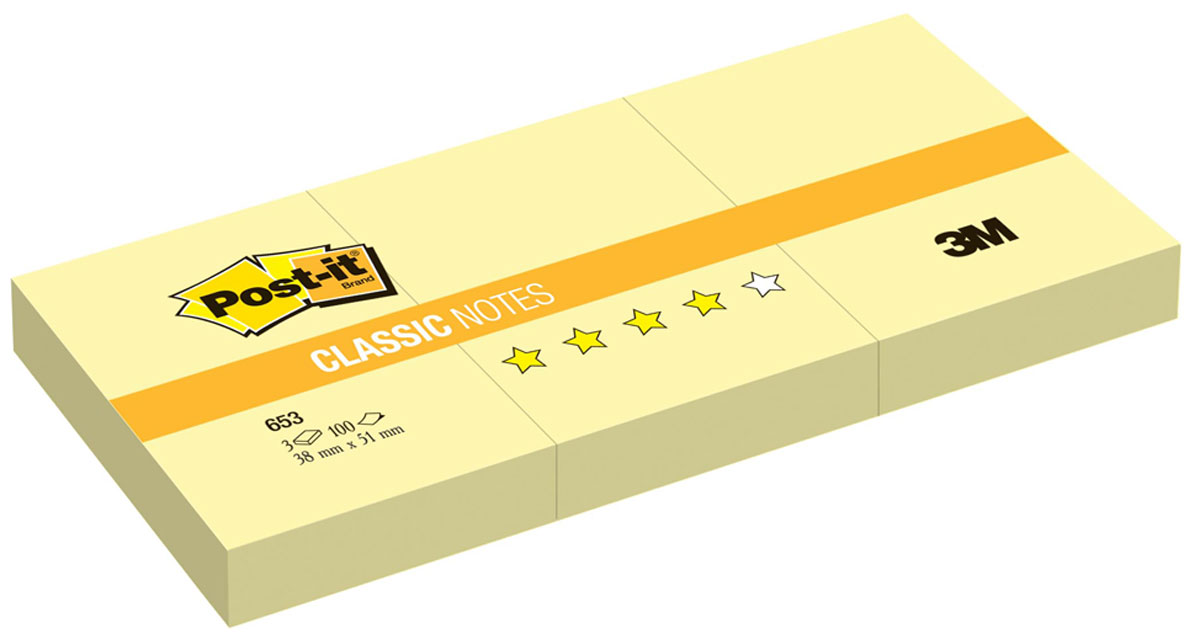 Бумага для заметок Post-it, с липким слоем, цвет: желтый, 300 листов653Бумага для заметок Post-it прекрасно подойдет для записи номеров телефонов, адресов, напоминания о важной встрече или внезапно пришедшей полезной мысли. Бумагу можно наклеивать на любую гладкую поверхность, без опасения оставить след от клея. Комплект содержит 3 блока по 100 листов в каждом из бумаги желтого цвета. Характеристики:Размер листа: 3,8 см х 5,1 см. Количество: 300 листов.