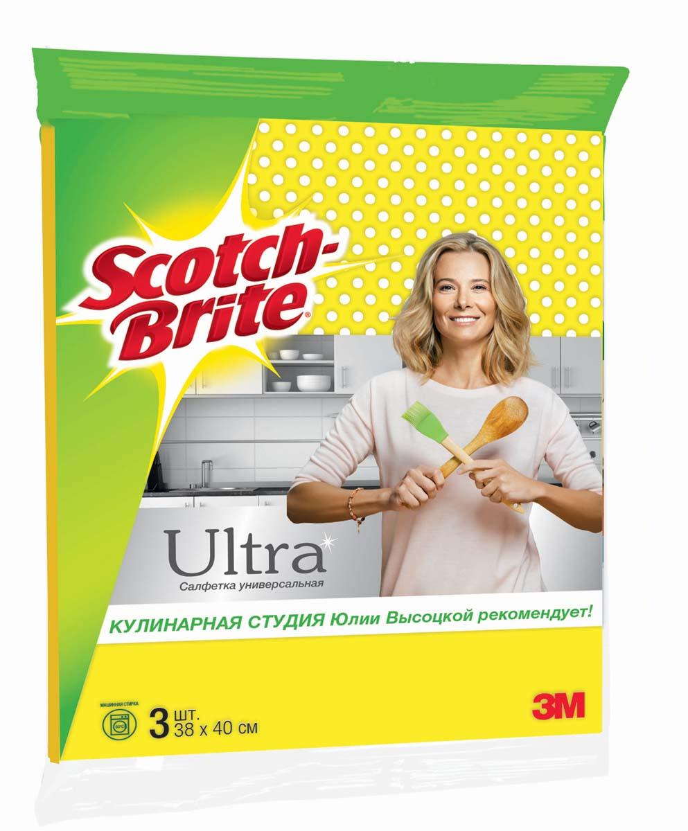 Салфетка для уборки Scotch-Brite Ultra, универсальная, 38 х 40 см, 3 шт5910Салфетка Scotch-Brite Ultra, выполненная из 80% вискозы и 10% полипропилена, предназначена для сухой и влажной уборки. Легко отжимается, быстро сохнет и не впитывает запахи. Может применяться с бытовыми моющими средствами.Допускается стирка в стиральной машине при 60°С.Уважаемые клиенты!Обращаем ваше внимание на возможные изменения в дизайне упаковки. Качественные характеристики товара остаются неизменными. Поставка осуществляется в зависимости от наличия на складе.