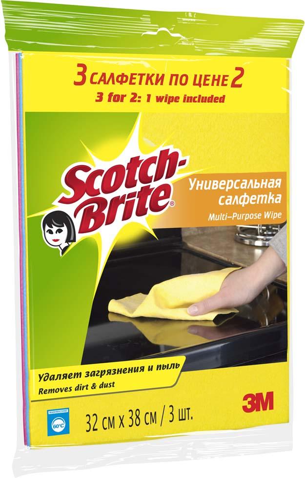 Салфетка Scotch-Brite, универсальная, 2 шт + 1 салфетка в ПОДАРОК11018Универсальная салфетка Scotch-Brite идеально подходит для сухой и влажной уборки любых поверхностей. Преимущества:удаляет загрязнения м пыль, легко отжимается, быстро сохнет и не впитывает неприятные запахи, мягкий и долговечный материал, может применяться с бытовыми моющими средствами, многократная машинная стирка при температуре 60°C. Характеристики: Материал: 85% вискоза, 15% полипропилен. Размер: 32 см х 38 см. Количество в упаковке:3 шт. Изготовитель:Польша. Артикул: 11018.