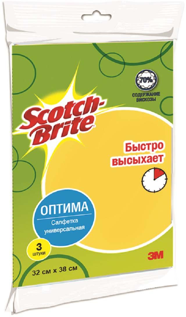 Салфетка Scotch-Brite универсальная, цвет: желтый, 3 шт салфетка для уборки чисто солнышко универсальная цвет голубой 30 x 34 см 3 шт