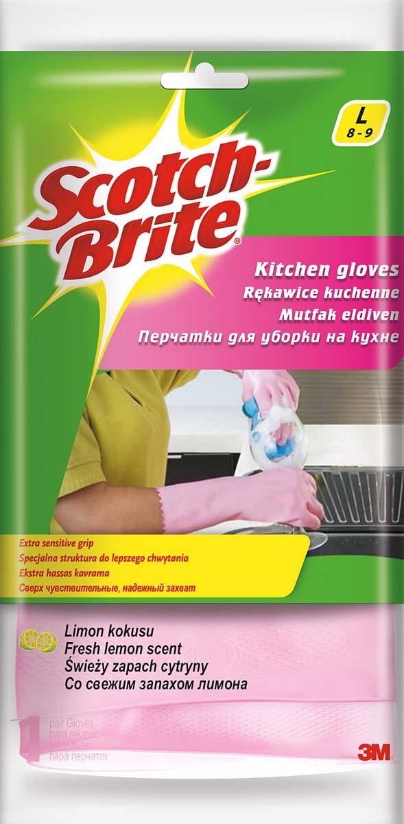 "Перчатки для работы на кухне ""Scotch-Brite"", цвет: розовый. Размер L"